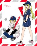 1boy 1girl :d automail bare_legs baseball_bat baseball_cap baseball_uniform black_background black_legwear blonde_hair blue_eyes blue_legwear blue_shirt border braid clothes_writing commentary_request earrings edward_elric expressionless eyebrows_visible_through_hair eyelashes fingernails frown full_body fullmetal_alchemist hanayama_(inunekokawaii) hand_on_hip happy hat holding jewelry legs_crossed long_hair long_sleeves looking_away looking_back open_mouth outside_border polka_dot polka_dot_background ponytail red_background serious shirt shoes short_shorts shorts simple_background sitting smile sneakers sportswear spread_legs standing striped teeth translated vertical_stripes white_background winry_rockbell wristband yellow_eyes