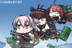 3girls ahoge black_gloves blue_eyes blue_sky bodysuit brown_eyes brown_hair cannon commentary_request dated drum_(container) elbow_gloves fingerless_gloves flying_sweatdrops gloves hairband hamu_koutarou hatsuzuki_(kantai_collection) headband kantai_collection kawakaze_(kantai_collection) long_hair low_twintails machinery multiple_girls neck_ribbon o_o ocean open_mouth ponytail purple_hair red_ribbon redhead ribbon rope rope_train school_uniform serafuku shiranui_(kantai_collection) short_hair sky standing standing_on_liquid twintails walking walking_on_liquid white_gloves