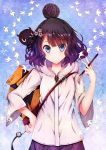 1girl black_hair blue_eyes eyebrows_visible_through_hair fate/grand_order fate_(series) flower gradient_hair hair_bun hair_flower hair_ornament hand_on_hip highres holding_brush hood hooded_jacket jacket katsushika_hokusai_(fate/grand_order) looking_at_viewer multicolored_hair purple_hair purple_skirt shiny shiny_hair short_hair skirt smile soda_(sodachuxd) solo standing tokitarou_(fate/grand_order) two-tone_hair upper_body white_jacket