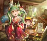2girls absurdres ahoge akashi_(azur_lane) animal_ears azur_lane bell blurry blurry_background bow box brown_hair cat_ears clock eyebrows_visible_through_hair fan green_hair hair_bell hair_bow hair_ornament haribo_kanten hat highres light_rays long_hair multiple_girls mutsuki_(azur_lane) notepad open_mouth paper_fan short_hair sliding_doors star star-shaped_pupils sunbeam sunlight symbol-shaped_pupils table tail twintails uchiwa very_long_sleeves wall_clock yellow_eyes