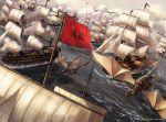 clouds dragon dragon_riding flying fukai_ryousuke highres outdoors pony_canyon sail ship watercraft
