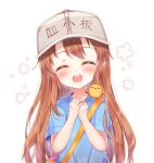 1girl :d ^_^ bag bangs blue_shirt blush brown_hair character_name closed_eyes closed_eyes clothes_writing eyebrows_visible_through_hair facing_viewer fingernails flat_cap foreign_blue grey_hat hands_up hat hataraku_saibou long_hair open_mouth own_hands_together platelet_(hataraku_saibou) round_teeth shirt short_sleeves shoulder_bag simple_background smile solo teeth upper_body upper_teeth very_long_hair white_background