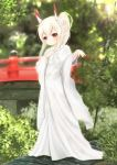 1girl absurdres ayanami_(azur_lane) azur_lane bangs blurry blurry_background blush bridge brown_eyes closed_fan closed_mouth commentary day depth_of_field eyebrows_visible_through_hair fan flower folding_fan full_body glint hair_between_eyes hair_flower hair_ornament hand_up head_tilt headgear high_ponytail highres holding holding_fan japanese_clothes jewelry kimono long_hair long_sleeves looking_at_viewer maru_shion outdoors ponytail revision ring rose sidelocks smile solo standing uchikake wedding_band white_flower white_kimono white_rose wide_sleeves