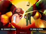 crocodilian crown donkey_kong donkey_kong_(series) fangs gorilla headbutt highres hone_ryu king_k._rool kremling nintendo red_eyes super_smash_bros.