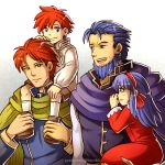 1girl 3boys beard blue_eyes blue_hair carrying cloak dress eliwood_(fire_emblem) facial_hair father_and_daughter father_and_son fire_emblem fire_emblem:_fuuin_no_tsurugi gzei hector_(fire_emblem) highres lilina multiple_boys nintendo redhead roy_(fire_emblem) smile violet_eyes