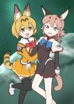 alternate_costume animal_ears blonde_hair bow bowtie caracal_(kemono_friends) caracal_ears caracal_tail commentary_request copyright_request dress japari_symbol kemono_friends light_brown_hair long_sleeves multicolored_hair ojigiri_(hisano1202) pantyhose pleated_dress serval_(kemono_friends) serval_ears serval_tail short_hair tagme tail thigh-highs zettai_ryouiki