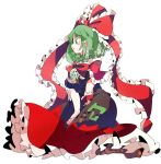 >:( 1girl arm_ribbon bow breasts dress eyebrows_visible_through_hair frills front_ponytail green_eyes green_hair hair_between_eyes hair_bow hair_ribbon highres kagiyama_hina kneeling long_hair ma_sakasama open_mouth red_dress ribbon solo touhou v-shaped_eyebrows