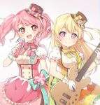 2girls :d bang_dream! bangs bass_guitar bd_ayknn blonde_hair blue_bow blush bow bowtie dress earrings eyebrows_visible_through_hair food frilled_gloves frilled_sleeves frills gloves half_updo hat hat_ornament hat_ribbon holding holding_instrument holding_microphone instrument jewelry long_hair looking_at_viewer macaron maruyama_aya microphone multiple_girls open_mouth pink_eyes pink_hair pink_neckwear ribbon ribbon-trimmed_gloves ribbon_trim shirasagi_chisato short_sleeves smile striped_hat sweatdrop twintails upper_teeth violet_eyes white_gloves yellow_neckwear