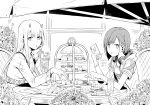 2girls absurdres animal_print cellphone chicke_iii drinking_straw eyebrows_visible_through_hair flower food fork glass greyscale headphones headphones_around_neck highres holding holding_food holding_fork holding_phone hood hood_down hoodie horns huge_filesize ichigo_(darling_in_the_franxx) long_hair long_sleeves looking_at_viewer monochrome multiple_girls open_mouth phone short_hair short_sleeves sitting smartphone spoon window zero_two_(darling_in_the_franxx)