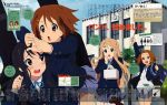 4girls absurdres akitake_seiichi akiyama_mio bangs blunt_bangs blush highres hime_cut hirasawa_yui k-on! kotobuki_tsumugi multiple_girls school_uniform tainaka_ritsu translation_request
