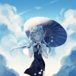 1girl absurdres blue_sky blue_umbrella clouds day floating_hair flower hair_flower hair_ornament highres holding holding_umbrella long_hair luo_tianyi nail_polish oriental_umbrella outdoors pink_nails rose see-through short_sleeves silver_hair sky solo standing twintails umbrella very_long_hair vocaloid white_flower white_rose
