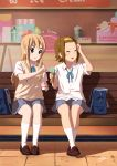 2girls bench blonde_hair blue_eyes blue_skirt blush brown_footwear brown_hair closed_eyes duffle_bag facing_away hairband highres indoors k-on! kneehighs kotobuki_tsumugi loafers long_hair looking_at_another multiple_girls ogawan_(opopinchan) parted_lips shoes short_hair signature sitting skirt tainaka_ritsu thick_eyebrows white_legwear