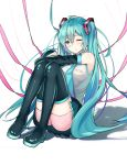 1girl aqua_hair bike_shorts black_legwear blue_eyes boots commentary_request detached_sleeves hatsune_miku highres long_hair mikuning one_eye_closed pink_shorts pout pouty_lips shorts sitting solo thigh-highs thigh_boots twintails very_long_hair vocaloid