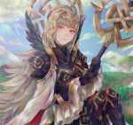 1girl armor black_armor black_gloves blue_sky closed_mouth clouds crown day fire_emblem fire_emblem_heroes gloves grass grey_hair hair_ornament highres hikashi10_nsk holding holding_staff long_hair long_sleeves nintendo outdoors red_eyes shoulder_armor sitting sky solo staff veronica_(fire_emblem)