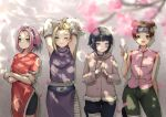 4girls arms_behind_head arms_up bandage bandaged_leg bandages blonde_hair blue_eyes blush brown_eyes brown_hair cherry_blossoms crossed_arms double_bun eyebrows_visible_through_hair fingers_together forehead_protector fur_trim green_eyes hair_bun haruno_sakura high_ponytail highres hood hoodie hyuuga_hinata konohagakure_symbol light_blush multiple_girls naruto naruto_(series) one_eye_closed open_mouth petals pink_hair side-by-side smile standing tansaninryousui tenten v wavy_mouth yamanaka_ino