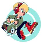 1boy afro black_pants blonde_hair boots circle green_eyes green_jacket headphones jacket katsu_noha male_focus nintendo octarian octoling open_mouth pants red_footwear slosher_(splatoon) solo splatoon splatoon_2