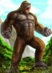 absurdres animal brown_fur facial_scar fangs giant gorilla grey_skin highres kaijuu king_kong king_kong_(character) kong:_skull_island monster mountain muscle niekholest open_mouth orange_eyes oversized_animal rock scar sharp_teeth teeth