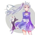 1girl blue_eyes cleavage_cutout dog earrings highres iesupa jewelry long_hair ponytail rwby scar scar_across_eye side_ponytail solo tiara weiss_schnee white_hair zwei_(rwby)