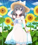 1girl bare_shoulders blue_eyes blue_sky blush bow burn_scar clouds collarbone commentary_request day dorei_to_no_seikatsu_~teaching_feeling~ dress eyebrows_visible_through_hair eyes_visible_through_hair flower grey_hair hair_between_eyes hair_ornament hairclip hand_on_headwear hat hat_bow highres long_hair looking_at_viewer outdoors scar skirt_hold sky smile solo sun_hat sunflower sunlight sylvie_(dorei_to_no_seikatsu) takahiko white_bow white_dress
