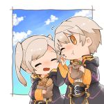 1boy 1girl blush closed_eyes clouds commentary_request eating female_my_unit_(fire_emblem:_kakusei) fire_emblem fire_emblem:_kakusei fire_emblem_heroes food hamburger holding holding_food hood hood_down hooded_jacket jacket male_my_unit_(fire_emblem:_kakusei) my_unit_(fire_emblem:_kakusei) nintendo one_eye_closed open_mouth sandwich shunrai sky twintails white_hair yellow_eyes