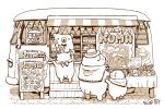 artist_name baguette bear bow bowtie bread chef_hat food greyscale ground_vehicle hat looking_at_another menu_board monochrome motor_vehicle no_humans original st.kuma table van