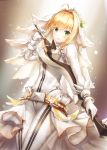 1girl aestus_estus bangs belt_buckle blonde_hair blush bodysuit breasts buckle closed_mouth commentary_request eyebrows_visible_through_hair fate/extra fate/extra_ccc fate_(series) flower gloves green_eyes groin hair_between_eyes hair_flower hair_intakes hair_ornament head_tilt highres holding holding_sword holding_weapon long_sleeves lunacle medium_breasts nero_claudius_(bride)_(fate) nero_claudius_(fate)_(all) saber_extra smile solo sword veil weapon white_bodysuit white_flower white_gloves