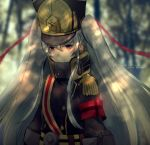 1girl altair_(re:creators) armband blurry blurry_background hair_between_eyes hair_ribbon kleinlight long_hair military military_uniform re:creators red_eyes red_ribbon ribbon silver_hair smile solo twintails uniform upper_body very_long_hair