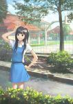1girl basketball_hoop bow brown_eyes brown_hair chong_feigiap grin hair_bow hand_on_hip highres malaysia original school_uniform side_ponytail smile solo tree v