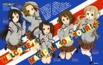 5girls absurdres akiyama_mio black_hair blonde_hair blue_eyes blush brown_eyes brown_hair character_name closed_mouth grey_eyes hair_ornament hairband hairclip highres hirasawa_yui kneehighs kotobuki_tsumugi long_hair looking_away magazine_scan multiple_girls nakano_azusa newtype page_number parted_lips plaid plaid_skirt scan short_hair skirt smile tainaka_ritsu teeth thick_eyebrows translation_request twintails v white_legwear yamada_naoko