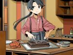 1girl adrian_ferrer anchor_symbol bag birthday_cake black_eyes black_hair bottle bowl cake commentary counter cupboard english_commentary floral_print food hakama_skirt hand_on_hip houshou_(kantai_collection) jar kantai_collection mittens mixing_bowl paper_bag pointing ponytail solo