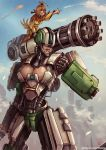 2girls android bastion_(overwatch) blue_sky blush_stickers breasts cleavage cleavage_cutout clenched_hand closed_eyes clouds fire ganymede_(overwatch) gatling_gun genderswap genderswap_(mtf) giantess grin humanization kachima large_breasts lips minigun multiple_girls overwatch personification pointing sky smile watermark web_address