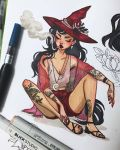 1girl arm_tattoo black_footwear black_hair breasts cigarette closed_mouth commentary crescent_moon crop_top earrings english_commentary flower freckles full_body hat highres ink_(medium) jacquelin_deleon jewelry lips long_hair moon necklace original photo red_hat red_shorts sandals shirt shorts small_breasts smoke smoking solo tattoo traditional_media white_shirt witch