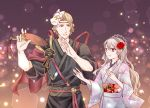 1boy 1girl cheryi dancing fan female_my_unit_(fire_emblem_if) fire_emblem fire_emblem_heroes fire_emblem_if flower hair_flower hair_ornament holding japanese_clothes kimono lilith_(fire_emblem_if) marks_(fire_emblem_if) my_unit_(fire_emblem_if) nintendo pointy_ears red_eyes rose smile white_hair