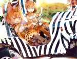 2girls animal_ears animal_print bare_shoulders belt black_hair blonde_hair blue_eyes bow bowtie car caracal_(kemono_friends) caracal_ears caracal_tail commentary_request elbow_gloves eyebrows_visible_through_hair fangs gloves ground_vehicle high-waist_skirt highres kemono_friends kolshica light_brown_hair motor_vehicle multicolored_hair multiple_girls open_mouth serval_(kemono_friends) serval_ears serval_print serval_tail short_hair sidelocks sitting skirt sleeveless tail thigh-highs yellow_eyes zebra_print