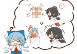 >_< 0_0 2girls :d :o ? ascot black_neckwear black_wings blue_dress blue_hair blush blush_stickers box brown_hair chibi cirno commentary_request detached_wings directional_arrow dress fang gift gift_box grin hat hat_removed headwear_removed highres ice ice_wings imagining in_box in_container kototoki multiple_girls open_mouth pointy_ears pom_pom_(clothes) red_neckwear santa_costume santa_hat shameimaru_aya shirt short_hair short_sleeves smile surprised thought_bubble tokin_hat touhou translated wavy_mouth wings xd |_|