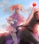 1girl blonde_hair breasts capelet chikefu clarine clouds cloudy_sky fire_emblem fire_emblem:_fuuin_no_tsurugi frilled_skirt frills gloves highres horse horseback_riding looking_at_viewer medium_breasts miniskirt nintendo open_mouth ponytail purple_gloves reins riding shirt short_hair skirt sky solo staff thigh-highs violet_eyes white_legwear white_skirt