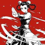 1girl a4typhoon baggy_pants bare_shoulders bell black_hair braid china_dress chinese_clothes commentary_request cowboy_shot dress fatal_fury fighting_stance forehead hair_bell hair_ornament hair_rings highres kung_fu li_xiangfei long_hair monochrome pants pelvic_curtain red red_background sash smile solo standing the_king_of_fighters the_king_of_fighters_2001 twin_braids vambraces