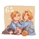 2boys alphonse_elric antenna_hair bag blonde_hair blue_shirt brothers character_name edward_elric esu_(825098897) expressionless fingernails full_body fullmetal_alchemist hands_on_another's_face long_sleeves looking_back looking_up male_focus multiple_boys number orange_background shaded_face shirt short_hair shorts siblings simple_background sitting socks white_background yellow_eyes younger