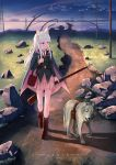 1girl animal_ears artist_name bag blue_eyes boots brown_footwear cat_ears check_translation closed_mouth eyebrows_visible_through_hair gun handbag highres holding holding_gun holding_weapon long_hair looking_away original outdoors pink_skirt russian scenery silver_hair sion005 skirt solo standing translation_request weapon wolf