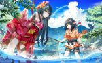 2girls black_hair blue_sky blurry blurry_background brown_eyes clouds day detached_sleeves eyebrows_visible_through_hair fish fishing flower forest hair_flower hair_ornament hairband highres japanese_clothes leaf lifted_by_self long_hair looking_at_viewer mountainous_horizon multiple_girls nature net official_art popuru short_hair shorts skirt skirt_lift sky standing summer tasty_saga tree water wet wet_hair wind