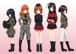 5girls ahoge akiyama_yukari anchovy anchovy_(cosplay) ankle_boots anzio_military_uniform arms_behind_back bangs belt black_belt black_eyes black_footwear black_hair black_hat black_jacket black_legwear black_neckwear black_shirt black_skirt blue_shorts blunt_bangs boots brown_eyes brown_hair brown_jacket closed_mouth commentary cosplay cup cutoffs darjeeling darjeeling_(cosplay) denim denim_shorts dress_shirt drinking_glass emblem epaulettes eyebrows_visible_through_hair flatfield from_side garrison_cap girls_und_panzer gradient gradient_background green_jumpsuit grey_jacket grey_pants hairband hands_in_pockets hands_on_hips hat head_tilt helmet highres holding holding_cup holding_helmet isuzu_hana jacket katyusha katyusha_(cosplay) kay_(girls_und_panzer) kay_(girls_und_panzer)_(cosplay) knee_boots kuromorimine_military_uniform light_frown light_smile long_hair long_sleeves looking_at_viewer messy_hair military military_hat military_uniform miniskirt multiple_girls necktie nishizumi_miho open_mouth orange_eyes orange_hair pants parted_lips pink_background pleated_skirt pravda_military_uniform red_jacket red_shirt red_skirt reizei_mako sam_browne_belt saucer saunders_military_uniform shirt short_hair short_jumpsuit short_shorts shorts skirt smile socks st._gloriana's_military_uniform standing takebe_saori tank_helmet teacup thigh-highs uniform white_hairband white_legwear zipper