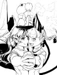 animal_ears bow cat_ears cat_tail dancing facing_back fangs hair_ornament hair_ribbon hand_holding hiyuu_(flying_bear) kaenbyou_rin komeiji_satori looking_at_viewer monochrome open_mouth reiuji_utsuho ribbon short_hair simple_background slit_pupils smile tail touhou white_background wings