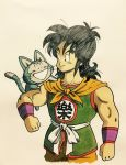 1boy :d animal animal_on_shoulder belt black_eyes black_hair clenched_hands clothes_writing commentary_request dragon_ball dragon_ball_(classic) flying happy highres lee_(dragon_garou) long_hair looking_at_another male_focus muscle neckerchief open_mouth orange_neckwear puar shaded_face simple_background sleeveless smile standing tail upper_body whiskers white_background wristband yamcha