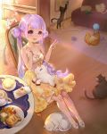 1girl :d absurdres alternate_costume alternate_hairstyle azur_lane bangs bare_shoulders breasts cake cat chair cleavage double_bun dress eyebrows_visible_through_hair food hair_bun highres indoors kneehighs lavender_hair long_hair looking_at_viewer open_mouth orry plate shoes sitting skirt smile solo strapless strapless_dress stuffed_alicorn table teapot twintails unicorn_(azur_lane) v very_long_hair violet_eyes white_dress white_footwear yellow_skirt