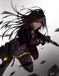 1girl absurdres alswp5806 bangs black_gloves blurry blurry_foreground brown_hair brown_jacket closed_mouth depth_of_field eyebrows_visible_through_hair finger_on_trigger fingerless_gloves fingernails girls_frontline gloves glowing glowing_eyes gradient gradient_background grey_background grey_legwear grey_skirt gun h&k_ump45 hair_between_eyes hair_ornament highres holding holding_gun holding_weapon jacket long_hair looking_at_viewer one_side_up open_clothes open_jacket pantyhose pleated_skirt shirt signature skirt solo standing standing_on_one_leg ump45_(girls_frontline) very_long_hair weapon white_background white_shirt yellow_eyes