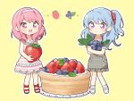 2girls :d bang_dream! bangs bd_ayknn blue_hair blueberry blush collared_dress commentary_request dress eyebrows_visible_through_hair food frilled_dress frilled_sleeves frills fruit grey_dress hair_down hair_ribbon hairband holding holding_fruit light_blue_hair long_hair lying maruyama_aya matsubara_kanon minigirl multiple_girls on_side open_mouth outline pinafore_dress pink_eyes pink_hair plaid plaid_dress red_footwear red_ribbon ribbon short_sleeves sidelocks simple_background sleeveless sleeveless_dress smile standing strawberry striped striped_dress tart_(food) violet_eyes white_footwear white_hairband white_outline yellow_background