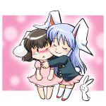 azuki_osamitsu barefoot black_hair blush bunny bunny_ears bunny_tail chibi comforting hug inaba_tewi rabbit rabbit_ears reisen_udongein_inaba shouzu_choukou tears touhou