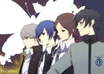 blue_eyes blue_hair brown_eyes brown_hair butterfly crossover earrings gakuran harano jewelry male narukami_yuu necktie persona persona_1 persona_2 persona_3 persona_4 protagonist_(persona_4) school_uniform seta_souji suou_tatsuya toudou_naoya