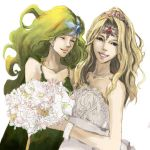 adult blonde_hair blue_eyes bouquet bouquets bride closed_eyes dress final_fantasy final_fantasy_iv flower green_hair jewelry long_hair lowres multiple_girls necklace rika_(ajidori) rika_(artist) rosa_farrell rydia smile tiara wedding_dress