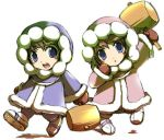 brown_hair gloves hammer hood ice_climber ice_climbers lowres nana_(ice_climber) nintendo popo_(ice_climber) siblings twins